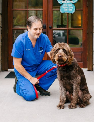 man in veterinarian uniform petting dog